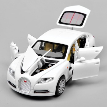 Collectible Alloy Diecast White Car Model 1/32 Bugatti Veyron 16C Galibier w/light&sound Pull Back Cars Model Kids Toys Gifts E