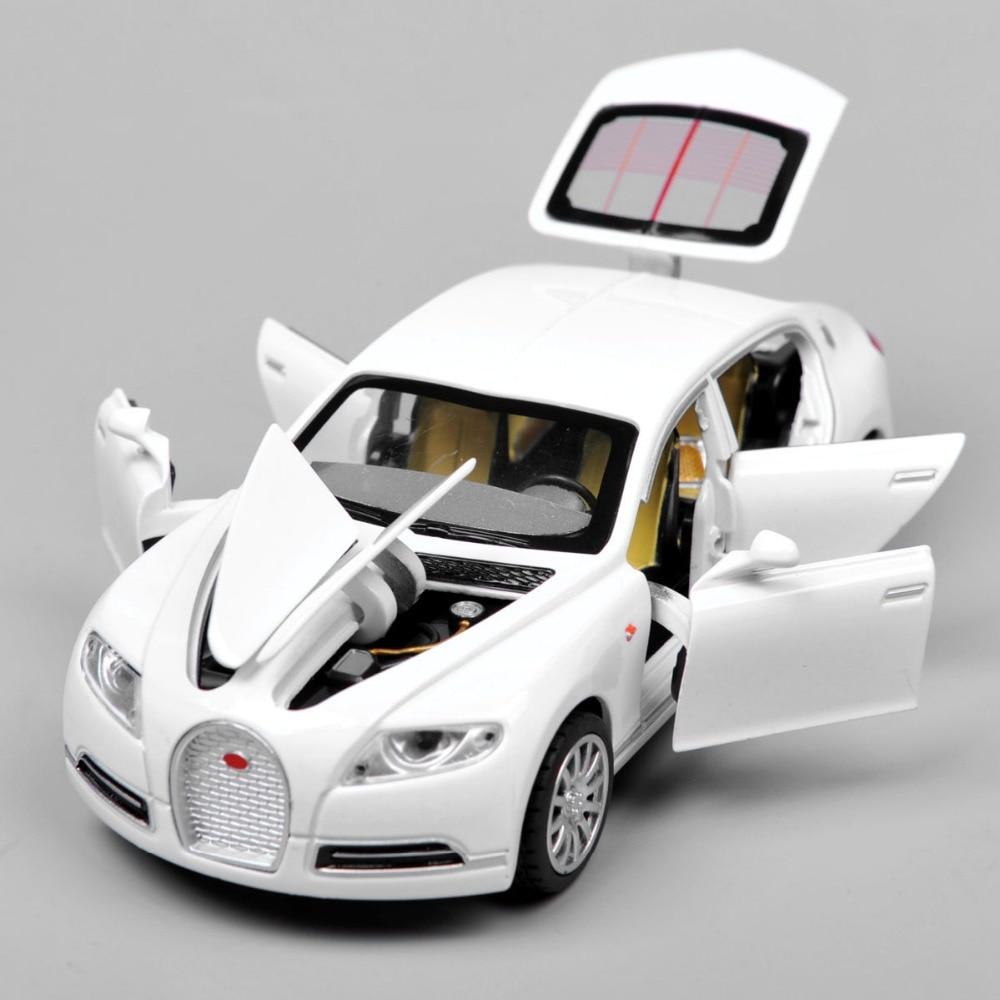 Collectible Alloy Diecast White Car Model 1 32 Bugatti Veyron 16C Galibier w light sound Pull