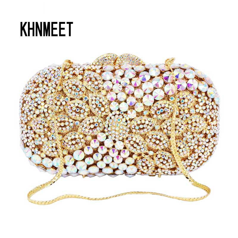 Designer AB silver Sparkle Luxury Diamond Crystal Evening Clutch Bag Gold color With Chain Handbags female
