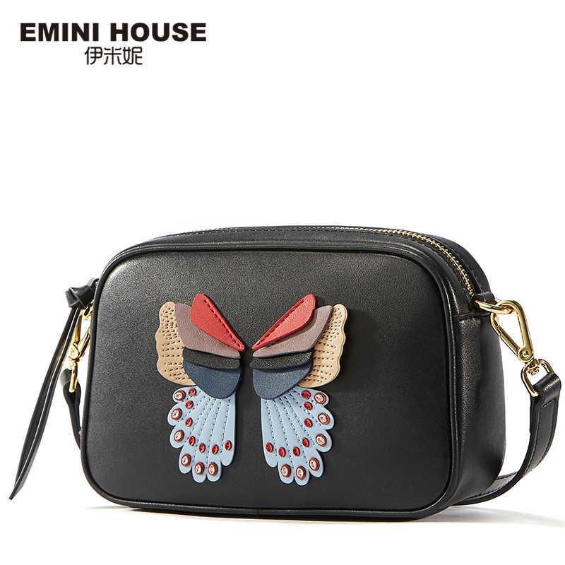Mini casa split couro crossbody sacos para as mulheres 2018 bolsa de ombro feminino applique borboleta mensageiro sacos aleta zíper