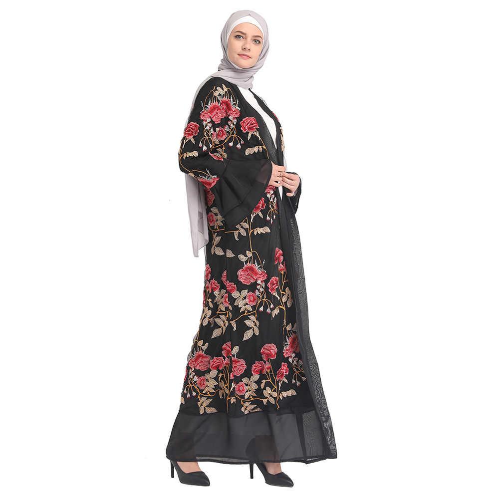 Открытое кимоно абайя марокканское Дубай, Турция, мусульманская одежда, вышивка, черное нарядное платье в арабском стиле, кардиган, мусульманский Халат
