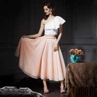 Chic Blush Peach Pink Chiffon and Satin Pleated Women Skirt Custom Made Zipper Waistline Vintage Midi Length Formal Skirts Long