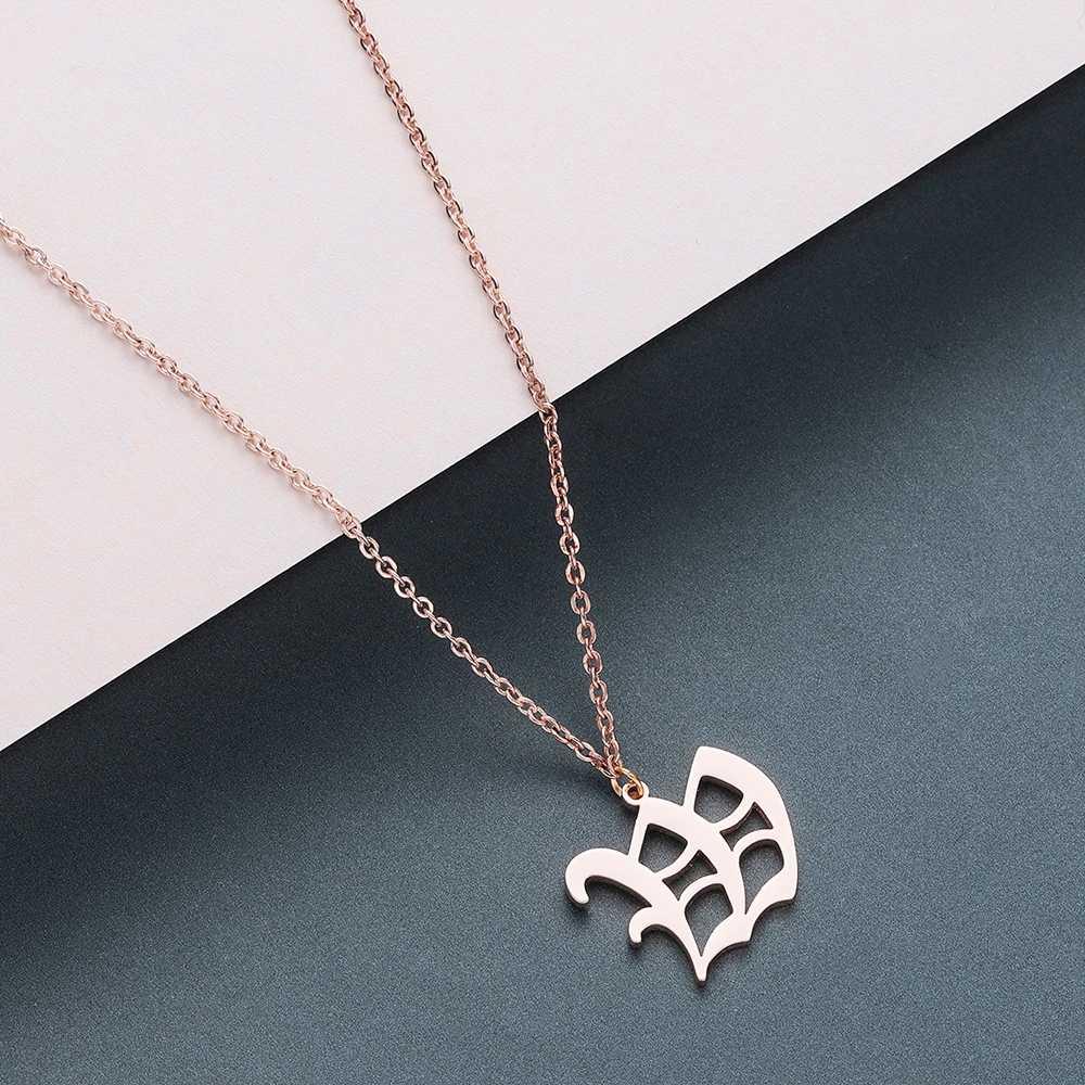 Todorova stary angielski niestandardowe kapitał początkowy A-Z zawieszka w kształcie litery naszyjnik mężczyźni w stylu Vintage czcionki spersonalizowane naszyjnik kobiety biżuteria