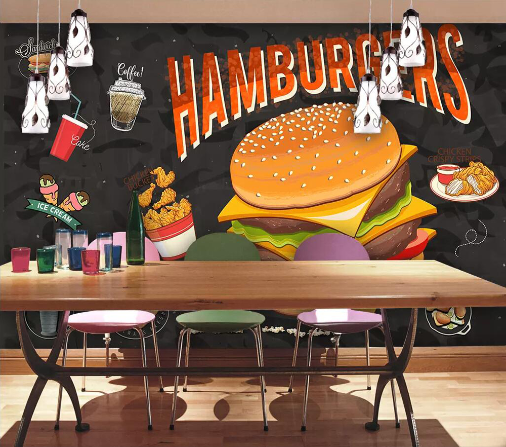 Commercial Wallpapers: Commercial Wallpaper Hamburger Fried Chicken Restaurant