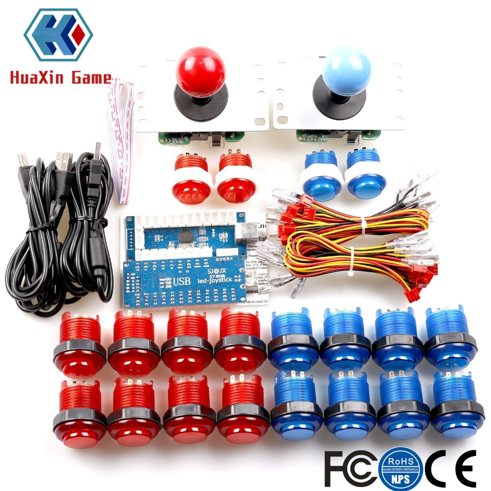 2 Players LED Arcade Game DIY Kit USB Encoder + Joystick (4/8 Way) + LED Button for Raspberry Pi 3 Retro, PC MAME, PS3 Control new led arcade game diy parts 2 x 5pin 5v 2 4 8 way led illuminated joystick 16 x led illuminated push button for mame game