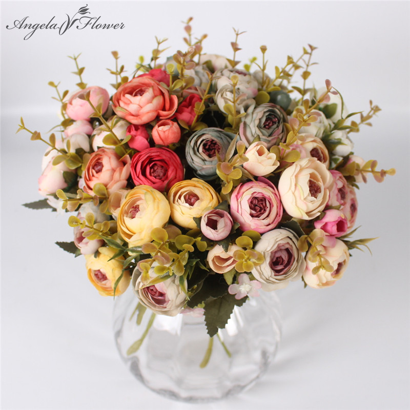 5 Branches artificial tea rose European style 7 autumn colors silk fake flower bouquet wedding decoration for home hotel decor