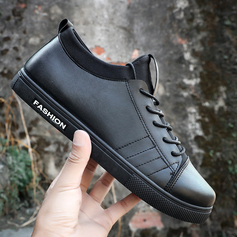 Whoholl Men PU Leather Casual Shoes Lace-up Flat with For Men  Fashion Chaussure Homme Soft Zapatos Hombre Summer Men Cool Shoes стоимость