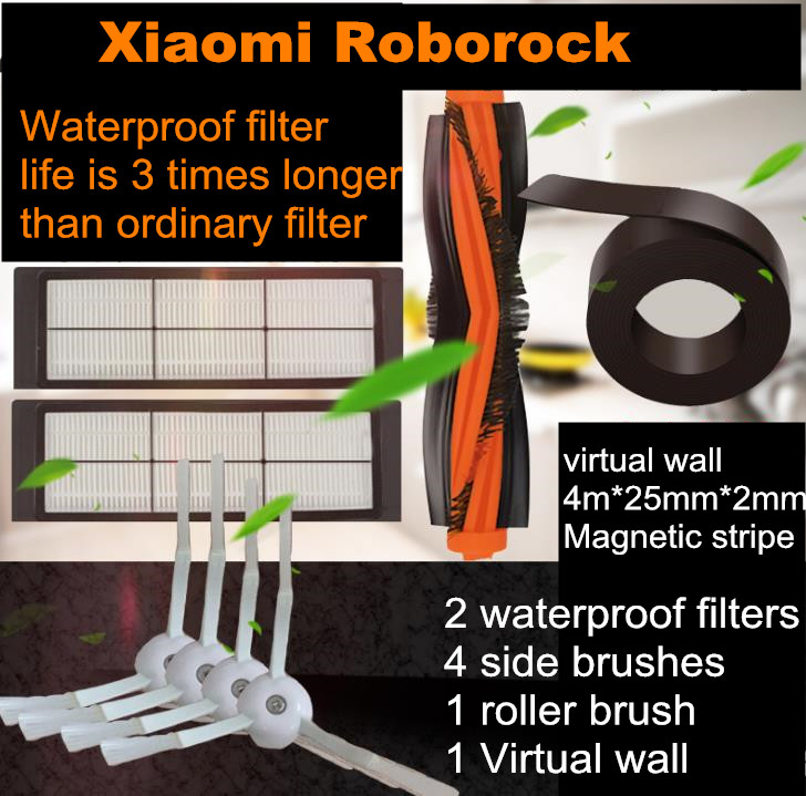 Main Brush Side brush waterproof Hepa filter Virtual Protective wall for XiaoMi 1st 2st Mijia Roborock part accessry Replacement цена