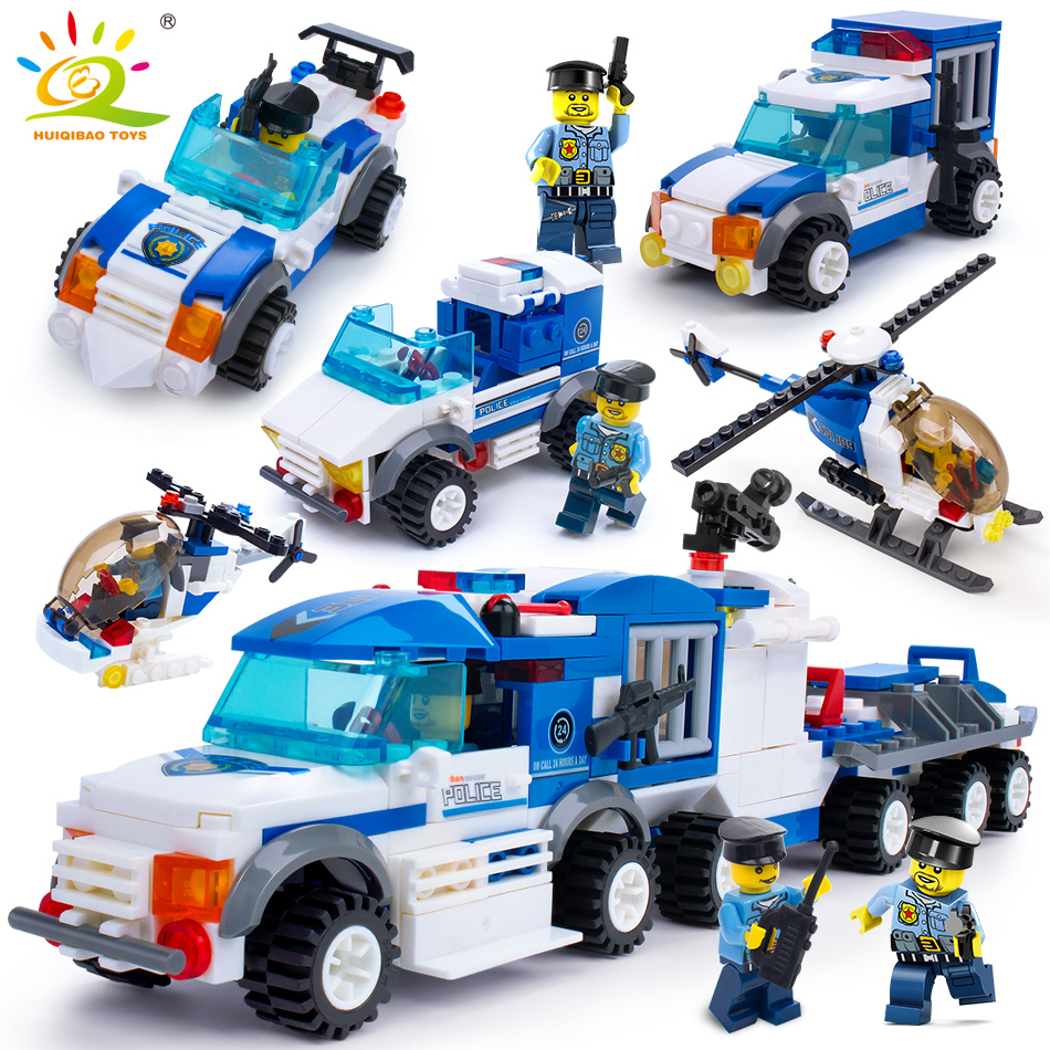 367pcs 4in1 Police Prison Truck Helicopter car Building Blocks Compatible Legoed City figures Enlighten Bricks Toys For children kazi 6726 police station prison figures building blocks compatible legos city enlighten bricks educational toys for children