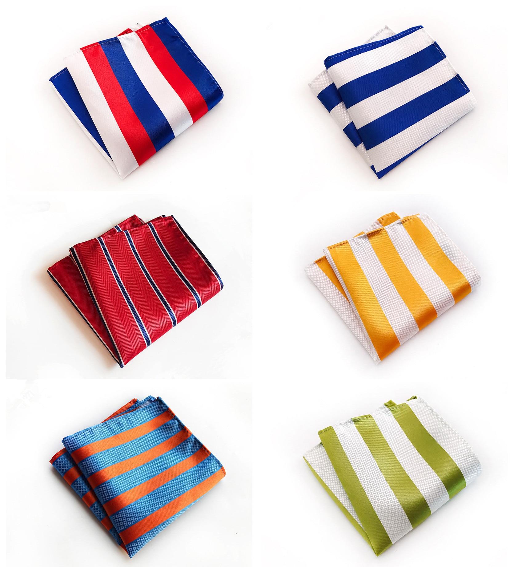 Fashion Design Quality Explosion Models 25x25cm Polyester Pocket Towel Men's Business Dress Multicolor Striped Pocket Towel