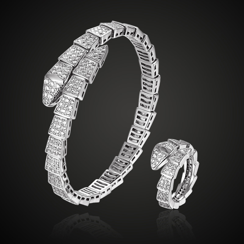Fashion Brand Adjust Cubic zircon snake bangle and ring wedding jewelry sets three plated color copper bangle anel sets aneis