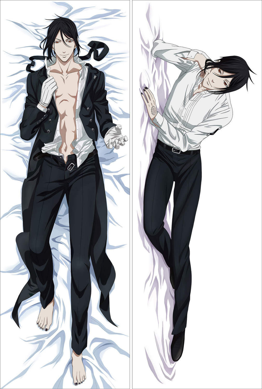 Kuroshitsuji anime characters cool boy sebastian michaelis ciel phantomhive pillow cover black butler dakimakura pillowcase