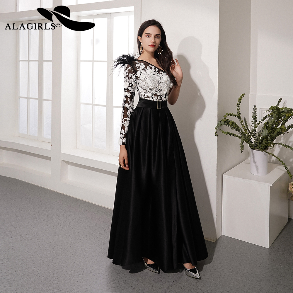 Alagirls New Designed One-Shoulder   Prom     Dress   Floor Length A Line Evening   Dress   Sexy Split Party   Dress   Vestido de fiesta 2019