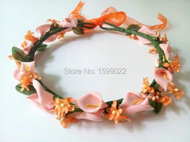 Künstliche atem blumenkrone orange braut kopfschmuck blume reif calla lily hochzeit zubehör foto schießen requisiten