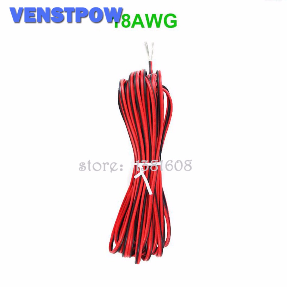 1M/Lot Red Black 2 Pins 18AWG LED Extension  Thinned Copper Wire Cable With Wire Cross-section 20.75 PVC Insulated Wire For Car