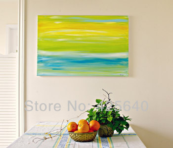 Yellow and Blue  Acrylic Paint Home Decoration Oil Painting  on canvas hight Quality Hand-painted Wall Art 24X36 inch