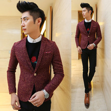 2017 men's New fashion boutique wool slim Business leisure suit jacket / Male premium brand retro classic casual suit Blazers