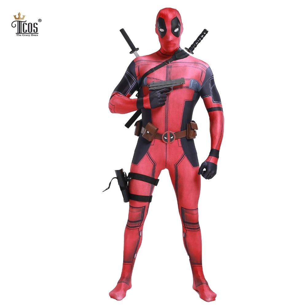 Deadpool Cosplay Costume Homme Marvel Deadpool-Costumes Adulte Wade Wilson Spandex Lycra Nylon Zentai body Deuxième Peau Serré
