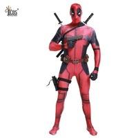 Deadpool Cosplay Costume Man Marvel Deadpool Costumes Adult Wade Wilson Spandex Lycra Nylon Zentai bodysuit Second Skin Tight