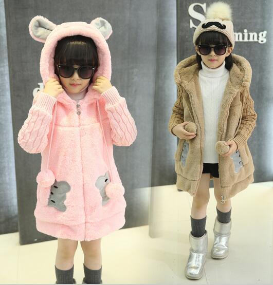 2016 invierno ropa de los niños de dibujos animados causal de manga larga espesar con capucha de cachemira niñas cardigan suéteres para niñas niños