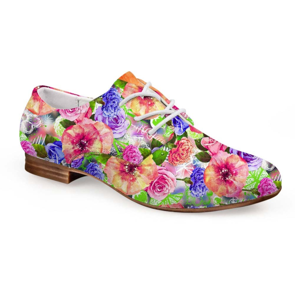 Noisydesigns Casual Oxfords Shoes Rose Mixed Color Flowers Print Women Leather Business Dress Shoe Lace Up Loafers Girls Derby mixed print lace insert tiered hem skirt