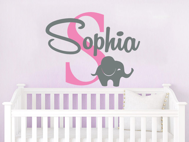 Customize Name Wall Decal Elephant Initial Decor Personalized Baby Name Decals Elephant Home Decor Removable Vinyl & Customize Name Wall Decal Elephant Initial Decor Personalized Baby ...