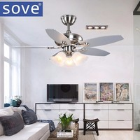 Sove 52 Inch Modern Village Wood Ceiling Fans With Lights Remote Control Restaurant Living Room Bedroom