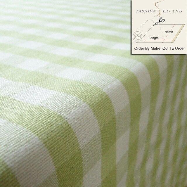 150cm Wide Geometric Mediterranean Plaid Fabric Green White Check Drapery Sofa Cloth Tablecloth Home Decor