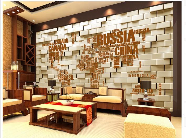 Kundenspezifische 3d Fototapete Wandbilder Wallpaper Englisch Alphabet Karte Hintergrund Wand Ziegel Wohnzimmer Tapete