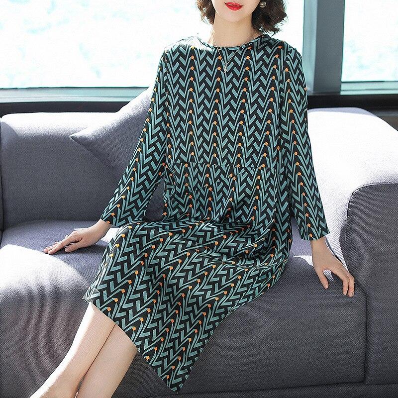 Ligne Office Une Géométrique Robe Automne Manches 2018 Nouveau Imprimé Lâche Parti Soie Lady 100 Plein Vert Femmes wq4PTXX
