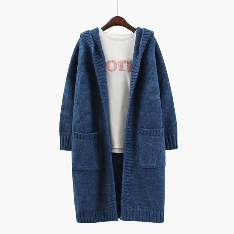 2017 Fashion Women Hooded Sweater Cardigan Autumn Winter Long Sleeve Pocket Loose Knitted Cardigan Female Sweaters Long Coat