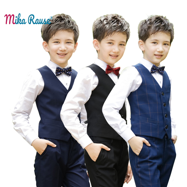 New kids clothes boys party costume teenage school clothes for boys ceremony Spring flower boy wedding clothing(Vest+pants+Shirt