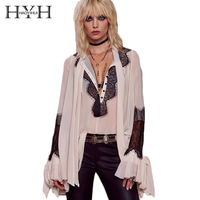 HYH HAOYIHUI Solid White Women Blouse Lace Patchwork Deep V Neck Long Sleeve Casual Tops Vintage