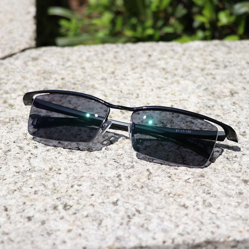 Dioptrien Sonne Lesebrille Übergang Optische Wearkaper Augenbraue Halbrahmen Titan Männer Photochrome Frauen Gläser 100 wIYYtP
