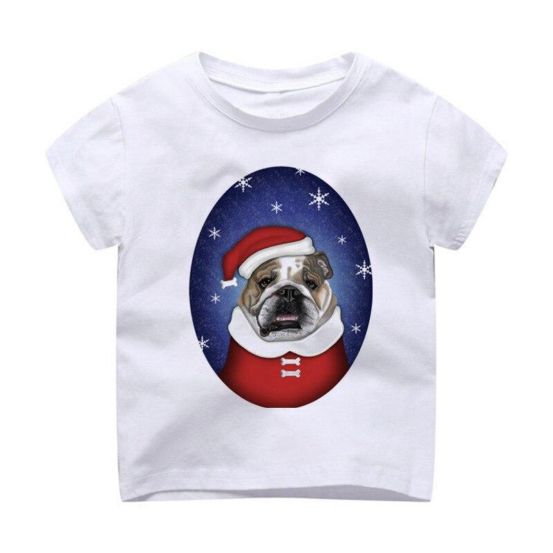 T-shirt Children Modal Printing Kids Clothes Short Sleeves T Shirt Tshirt Bulldog Santa Bulldog Harajuku Kawaii