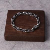 Wholesale 925 silver fashion accessories Retro personality Thai silver skull bracelet male student contracted chain