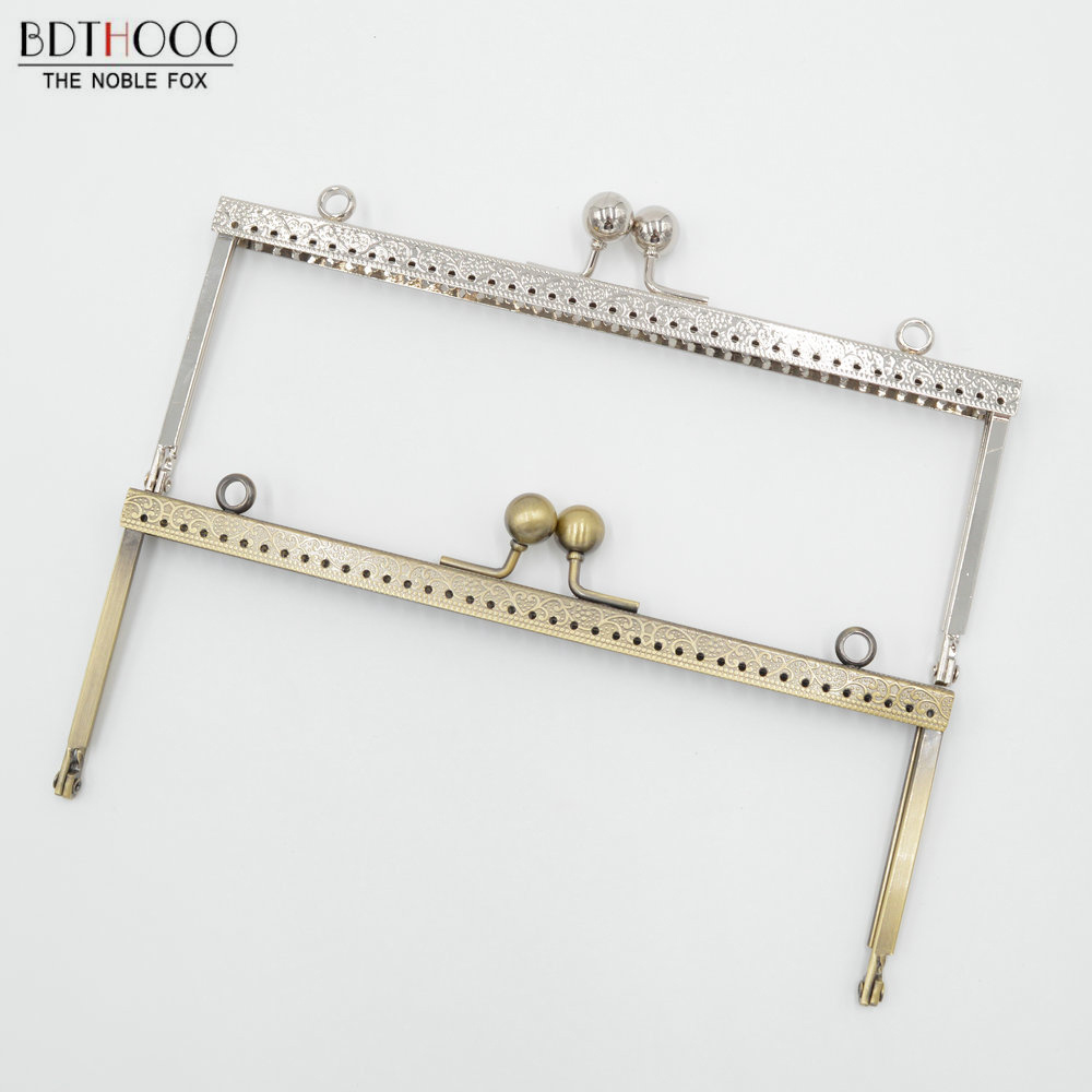 BDTHOOO 10pcs 20cm Clasp Square Metal Purse Frame Handle for Clutch Bag Accessories Clasp Lock Bags