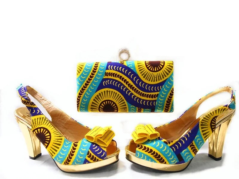 ФОТО High Quality Ladies Shoes And Matching Bags Set For Party Cotton Fabric Women Pumps Shoes African Shoes And Bag Set JA109