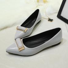 Patent Leather Zapatos Mujer Flats Heel Shoes Women Slip on Mental Pointed Girls Elegant Party Footwear Sapatos Femme Black