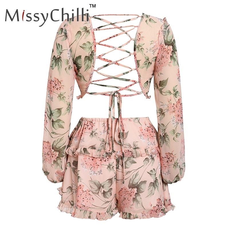 HTB1T5nvax rK1RkHFqDq6yJAFXaH - MissyChilli Sexy v neck backless summer playsuit Women chiffion beach short jumpsuit Elegant pink ruffle party romper overalls