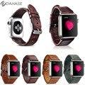 5 colores correa de pulsera de cuero retro genuino para apple watch serie 2 Banda de Cuero Correa para iWatch primero segundo w conectores