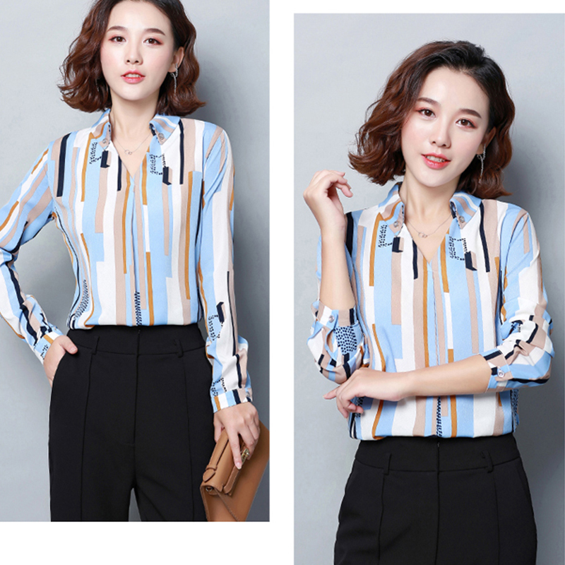 2019 Spring Women office lady Chiffon Shirt blusas femme V-Neck Cotton Geometric Print Blouse elegant Long sleeve Striped Blouse 5