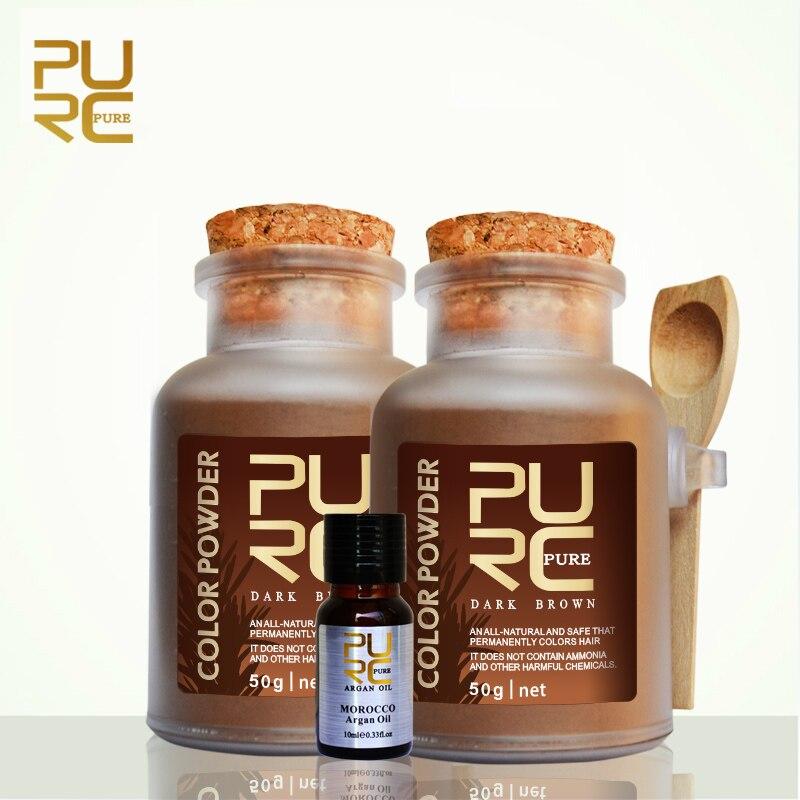 PURC Organic Herbal Dark Brown Hair Color Permanent Hair Color Powd 2 Bottles 50g and 10ml Argan Oil Best Hair Care Products Set