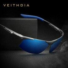 VEITHDIA Marca Verão New Alumínio Óculos Sem Aro Dos Homens Óculos Polarizados Óculos de Sol óculos de Sol Óculos oculos de sol masculino Para Homens VT6562