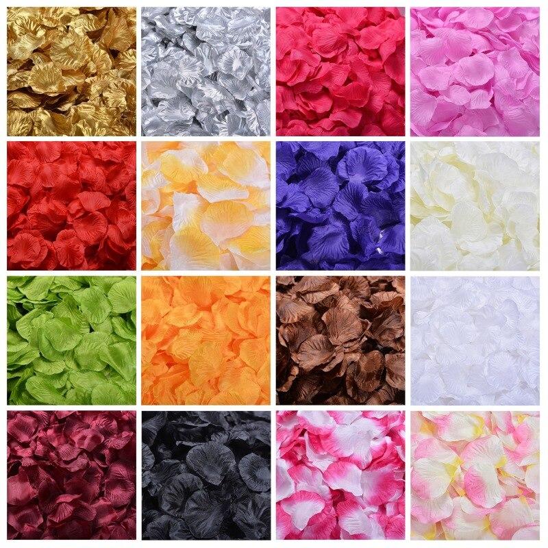 Various Colors Silk Rose Flower Petals Leaves Wedding Party Table Confetti Decor