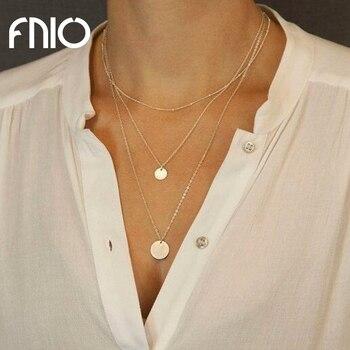 FNIO joyería minimalista clavícula redonda Collares colgante de moneda mujeres cadena Collares moda joyería regalos