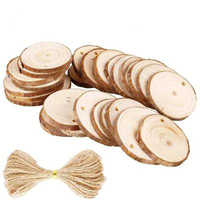 50pcs 5-6cm Unfinished Round Wooden Discs Painting Craft Slice Circle Ornament Crafts with 10M Rope for DIY Wedding Party Decor