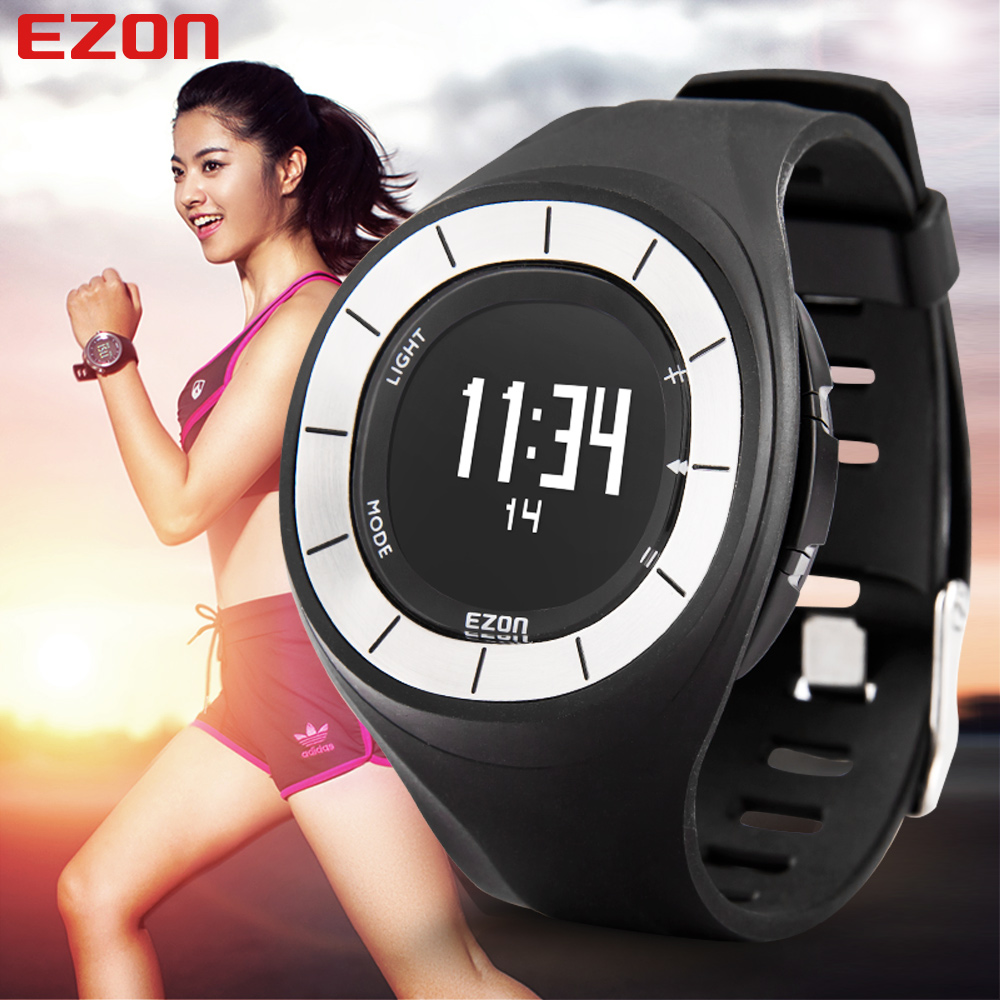 EZON Pedometer Calories Monitor Lovers' Men And Women BMI Sports Watches Digital Watch Running Hiking Wristwatch Montre Homme ezon 2016 lovers sports outdoor waterproof gym running jogging fitness pedometer calories counter digital watch ezon t029