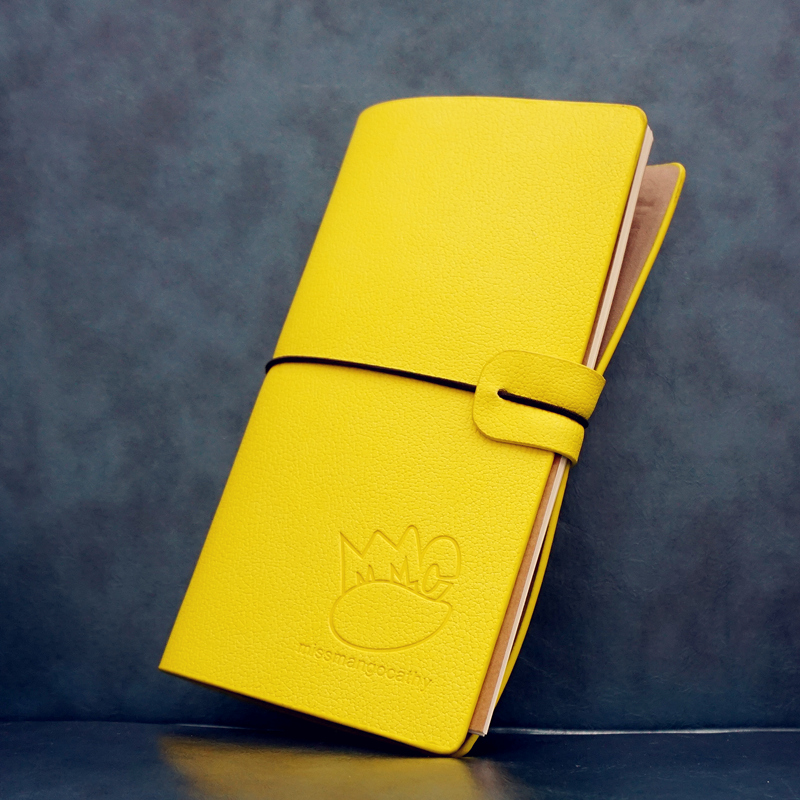 Miss Mango Yellow Color Faux Leather Notebook Weekly Planner Blank Free Note Study Diary Journal creative art fashion a6 journal planner book weekly monthly daily page blank paper pu leather diary notebook gift free shipping