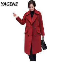 YAGENZ2017High Quality Winter Warm Jacket Coat Korean Loose Thick Woolen Overcoat Single breasted Slim Solid Women